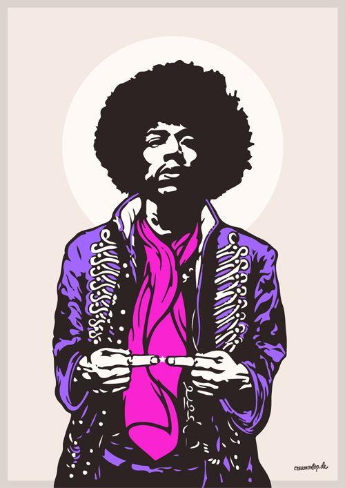 """""""Jimi Hendrix"""" - Størrelse: 70cm x 100cm / A3"""
