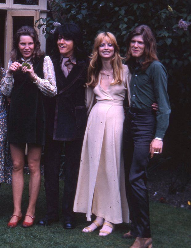 L-r: Angie Bowie, George Underwood, Birgit Underwood and David Bowie at George…