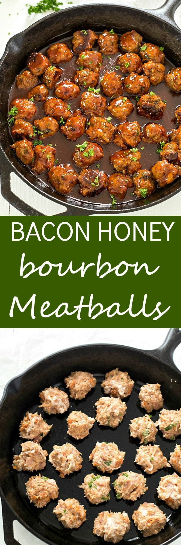 Bacon Honey Bourbon Chicken Meatballs - These meatballs are so easy and bake to perfection, and then simmer in an out-of-this-world honey bourbon barbecue sauce! P