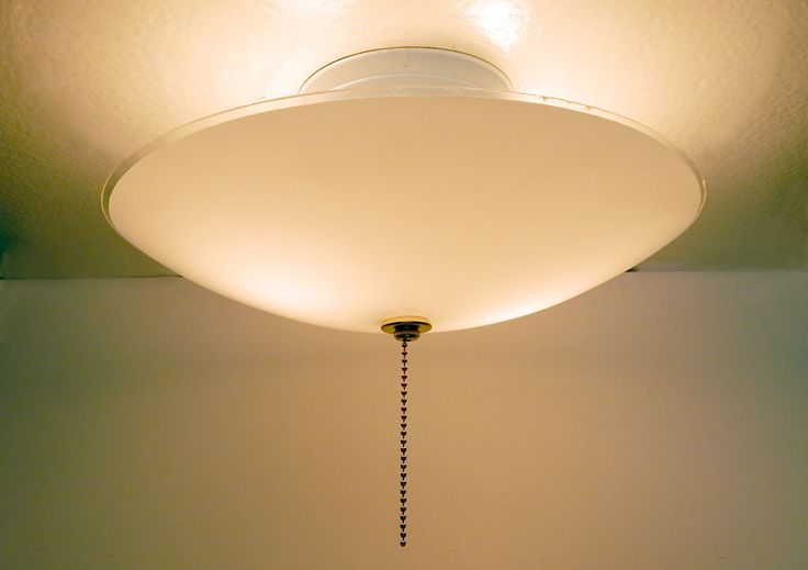 Mid Century Center Post Ceiling Light Vintage Glass New Pull Chain Fixture Sold