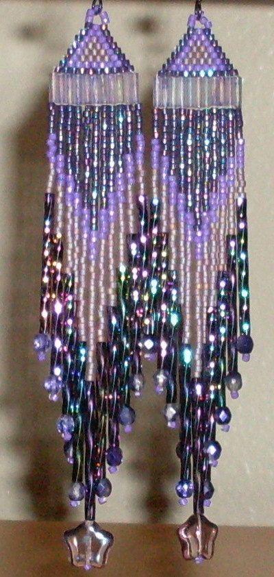 Purple Beaded Earrings by TheCraftyCuban on Etsy, $30.00