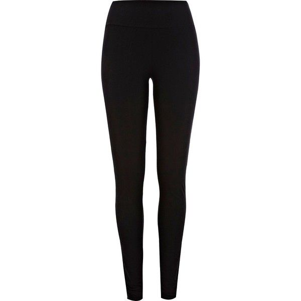 River Island Black jersey high waisted extra long leggings ($24) ❤ liked on Polyvore featuring pants, leggings, jeans, trousers, black, women, jersey pants, extra long pants, black jogger pants and long black leggings
