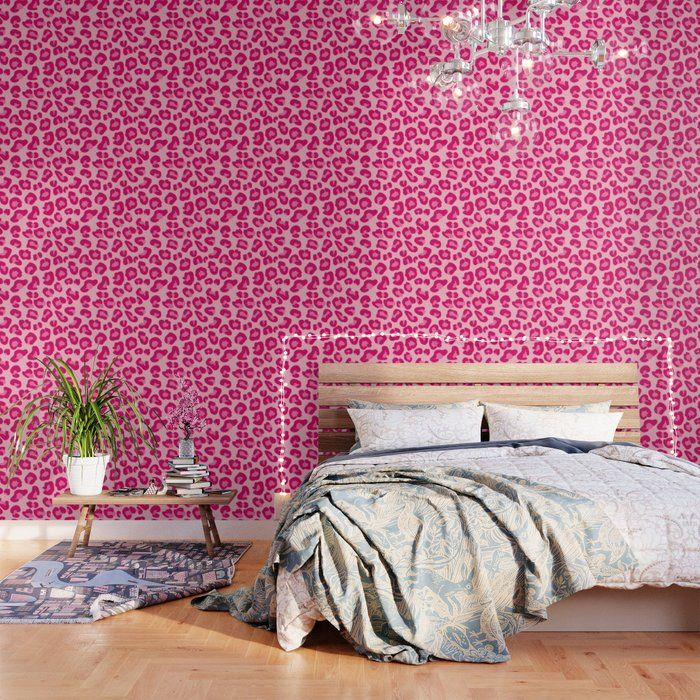 Leopard Print In Pastel Pink Hot Pink And Fuchsia Peel And Stick Wallpaper By Mm Gladden 2 X 4 Pattern Wallpaper Peel And Stick Wallpaper Pink Wallpaper