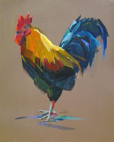 """Daily Paintworks – """"Wiederkäuender Hahn"""" – Original Fine Art zum Verkauf – © Patti …"""