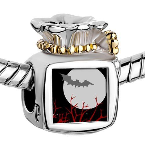 Pugster Two Tone Money Bag Halloween Bat Flying to the Moon Photo Beads Fits Pandora Charm Chamilia Biagi Bracelet Pugster. $14.49. Size (mm): 9.46*8.73*12.41. Metal: Metal. Color: Golden, silver. Weight (gram): 5.2
