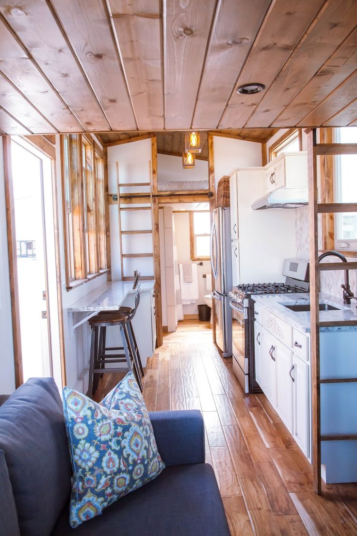 Modern tiny home boasts a big kitchen for foodies treehugger - The Teton Model By Alpine Tiny Homes Has Square Feet With 2 Bedroom Lots And Pretty Darn Big Kitchen And Bathroom At Least By Tiny House Standards