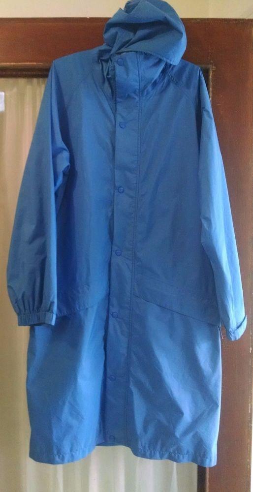 LL Bean Mens Raincoat Jacket Tall Large Long Blue Hooded Taped Gor-tex Stowaway #LLBean #Rainwear
