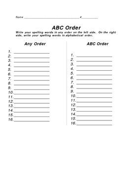 Alphabetical order homework