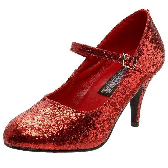 Women's Red Glitter Mary Jane Halloween Heels A pair of red glitter Mary Jane heels from the Funtasma brand. Featuring a 3.5 inch heel and a clasped strap, these shoes are perfect for your grown up Dorothy Halloween costume. Worn two or three times and in good condition. These are fairly good quality for costume shoes. Wore these for a Wicked Witch of the East costume a few times, but have no reason to keep them anymore. Offers are welcome. Funtasma Shoes Heels