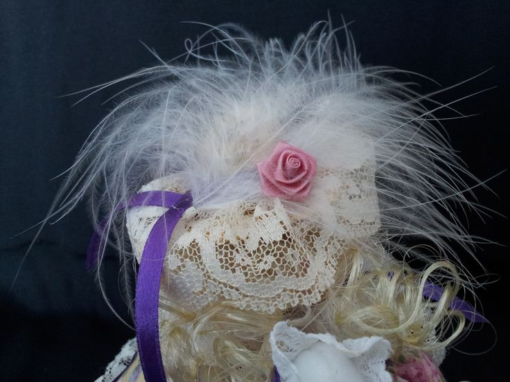 The Lady of Lavender Lane. Detail view. Collectable Pin Cushion Doll. Material: Cotton & Lace. $25.00CAD + S/H if applicable. $0.00 Tax. Please contact Nola at: https://www.facebook.com/elegantcreationsbynola for purchase
