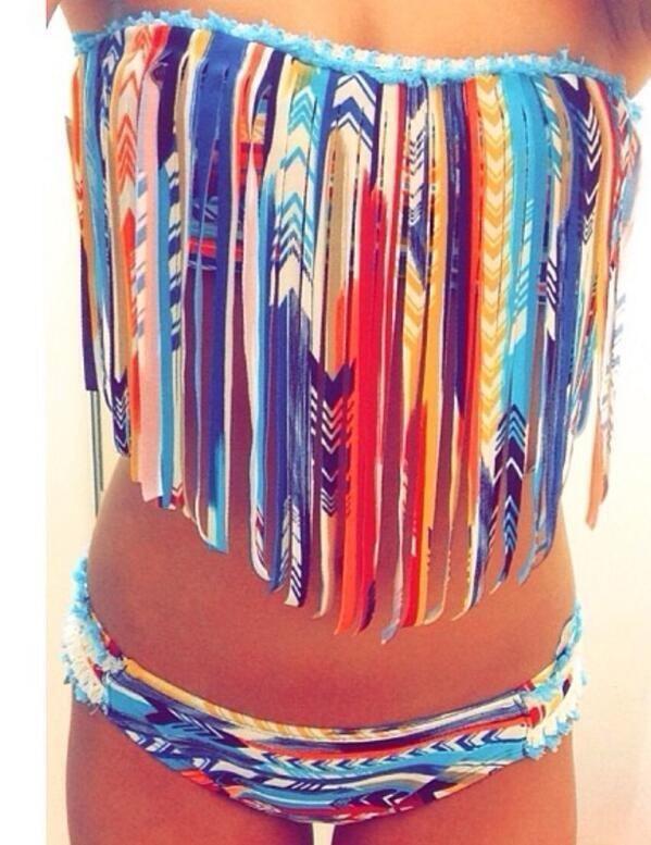 Cute native fringe bikini