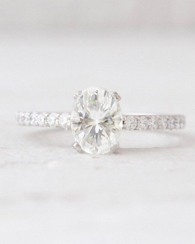 Platinum Oval Cut Forever Brilliant Moissanite and Diamond Engagement Ring Platinum Bridal Jewelry Anniversary Ring by TimelessTreasuresLCD on Etsy https://www.etsy.com/listing/200489131/platinum-oval-cut-forever-brilliant