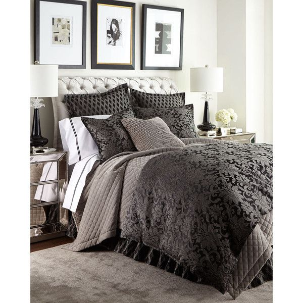 Isabella Collection King Hamilton Lattice Dust Skirt ($600) ❤ liked on Polyvore featuring home, bed & bath, bedding, graphite, king bedding, dark gray bedding, dark grey bedding, charcoal bedding and charcoal gray bedding