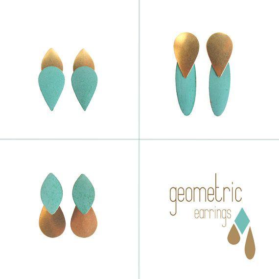 post earringsgeometric jewelrygolden metal verdigris by iomiss, $26.00