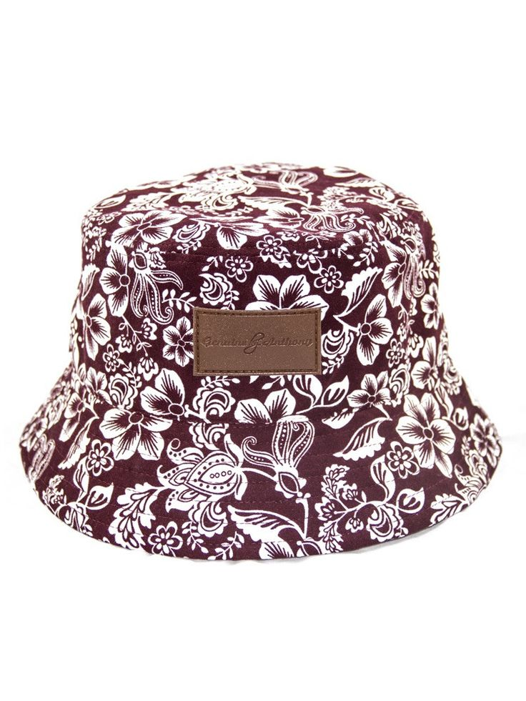Genuine By Anthony Burgundy Hawaiian Floral Bucket Hat - Hawaiian Print - Exclusive - Vibrant - High Quality