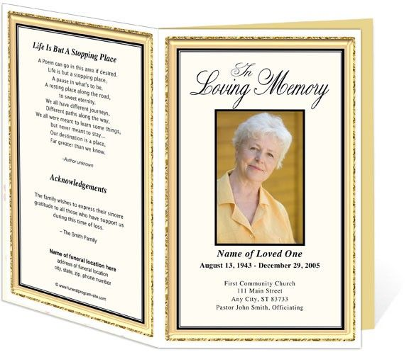 Best Funeral Program Templates Images On   Role