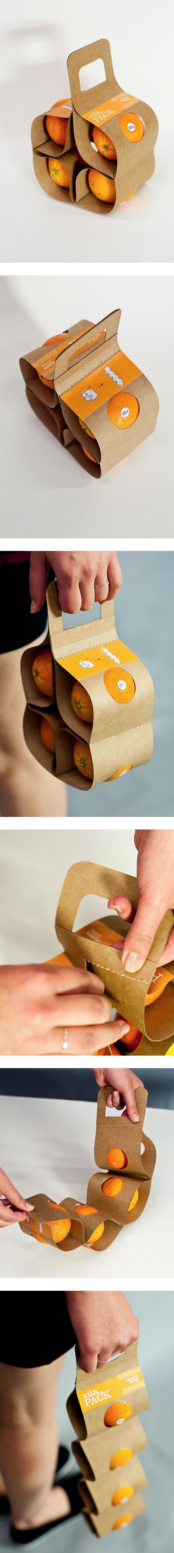 What will keep your precious fruit clean and bruise free? This packaging! You can carry fruit two different, easy ways.