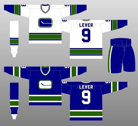 Vancouver Canucks 1977-78 - Names are added to the jerseys, thanks to a new NHL rule mandating them.