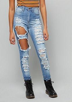 981b4010edd096 Medium Wash High Waisted Destroyed Skinny Jeans
