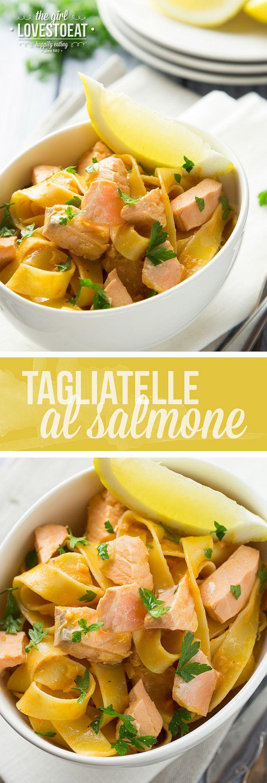 Tagliatelle al salmone  { thegirllovestoeat.com }