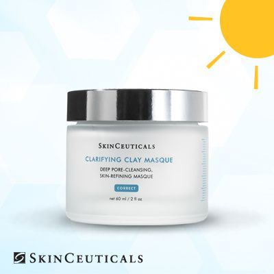Clogged pores are common come summer thanks to heat, humidity and extra sweat… Use Clarifying Clay Mask as needed to gently exfoliate and remove impurities. #SkinCeuticals #SummerSkincare