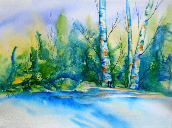 aspen trees watercolor birch treesmountain stream