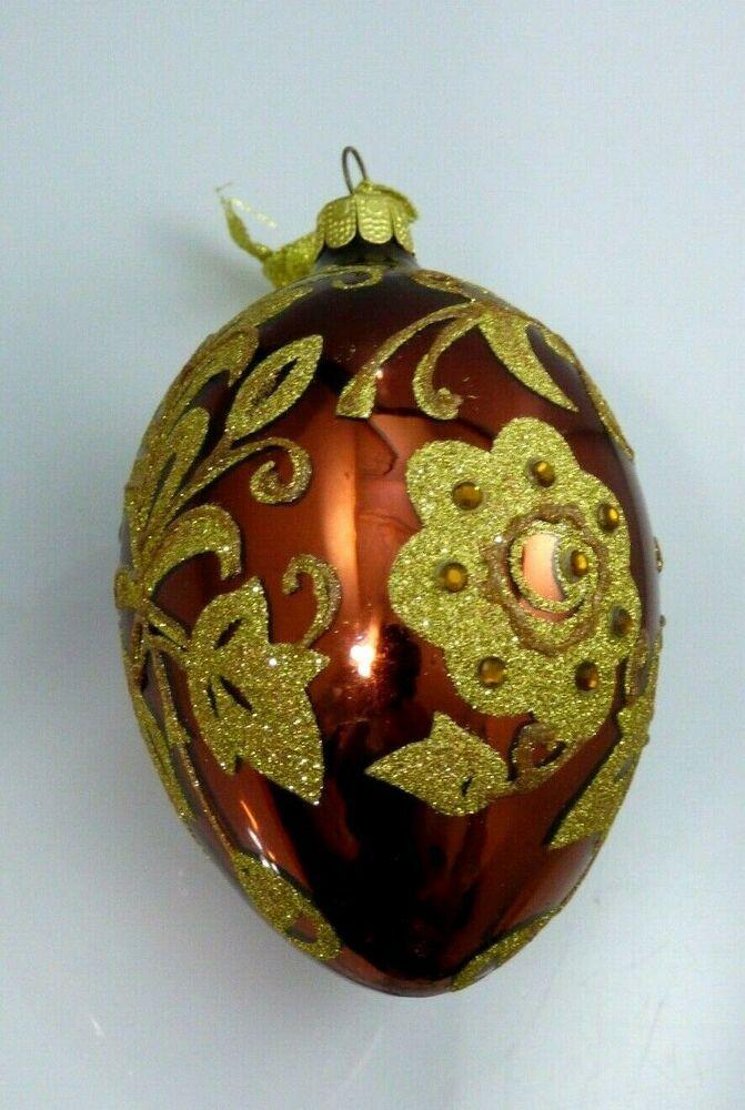 Joan Rivers Egg Shaped Brown Glass Gold Flower Ornament Christmas Easter 2009 Joanrivers Christmas Ornaments Flower Ornaments Gold Flowers