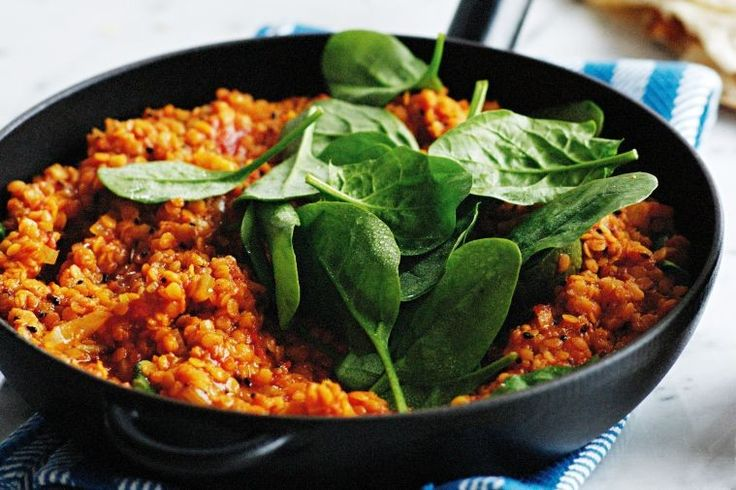 Red lentil dhal with spinach