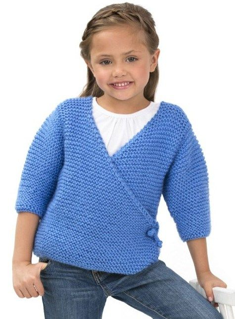 Free knitting pattern for Cute Kimono Sweater for children - Easy pattern by Ann E. Smith from Red Heart for a wrap cardigan in garter stitch. Sizes 2, 4, and 6 years.