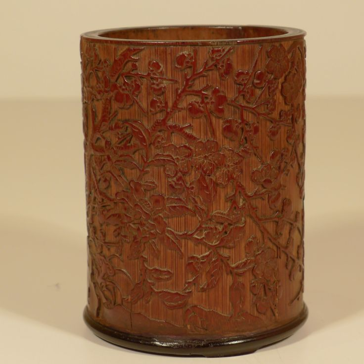 Bamboo Brushpot with phoenix - presentation gift on passing National Examination .