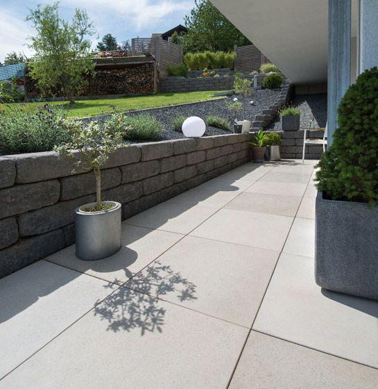 Kann Simcon Terrassenplatte In Sichtbeton Grau Gartenfliesen Vorgarten Steinmauer Garten