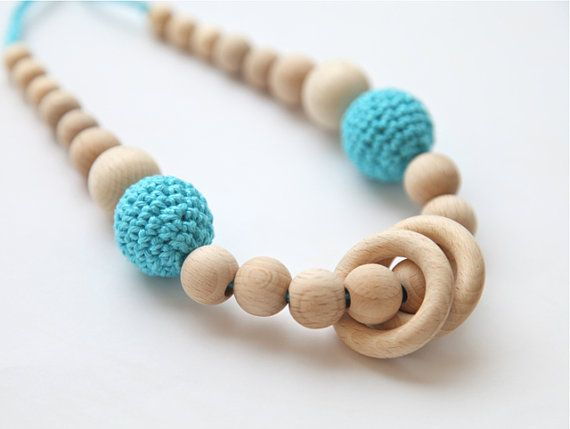 Blue cyan/ aqua nursing rings necklace. Girls crochet necklace. Mammy and baby teething necklace.