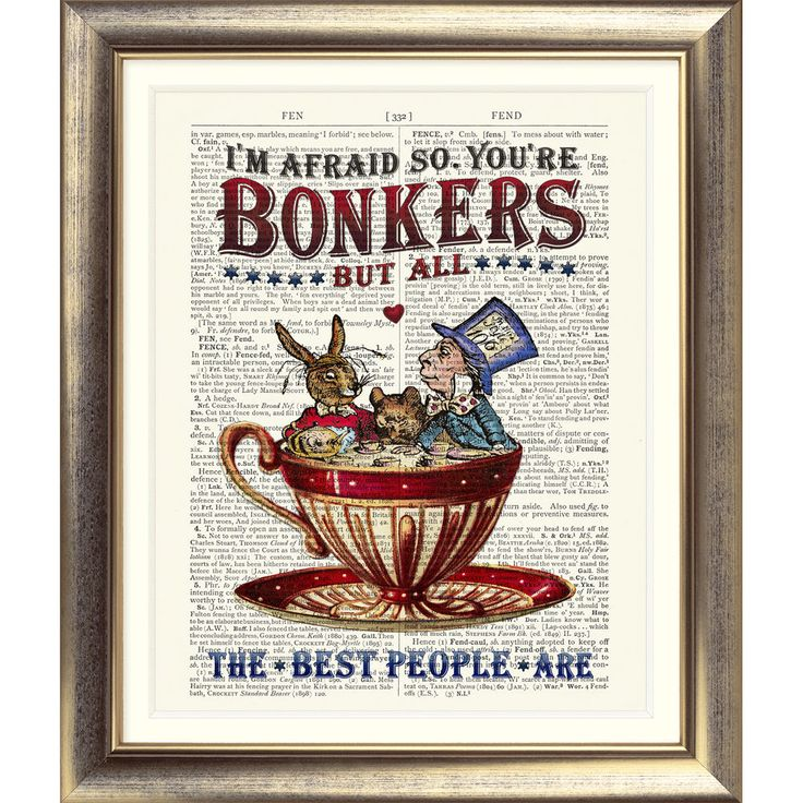 ART PRINT ANTIQUE BOOK PAGE Bonkers ALICE IN WONDERLAND Mad Hatter's TEA PARTY in Home, Furniture & DIY, Home Decor, Wall Hangings | eBay