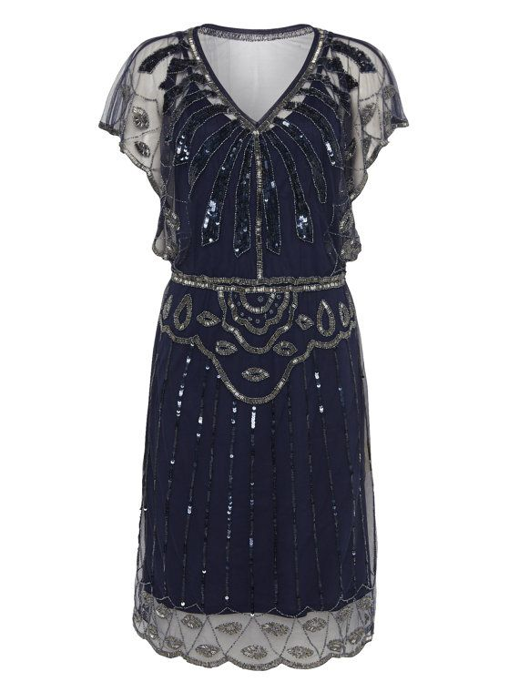 UK8 US4 Navy Blue Vintage inspired 1920s vibe Flapper Great Gatsby Beaded Charleston Sequin Art Deco Downton Abbey Mod Dress New Hand Made
