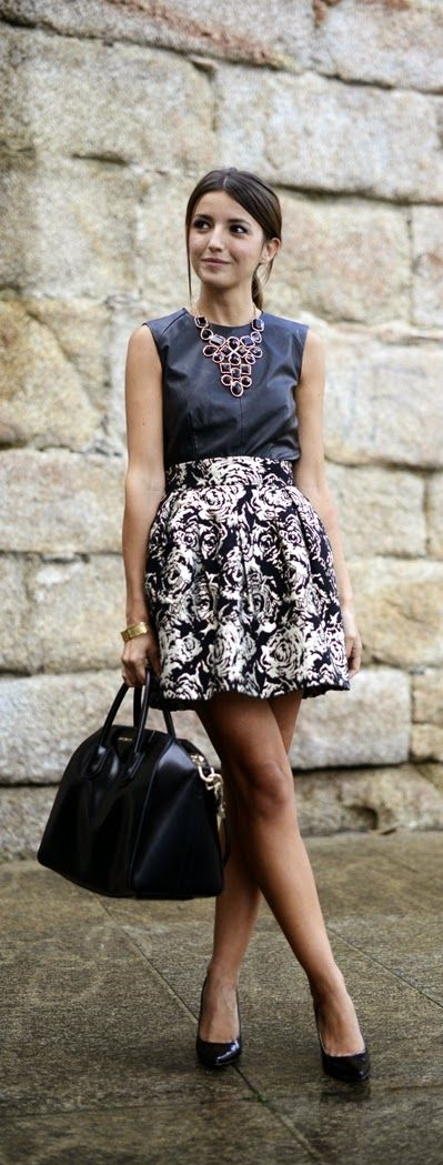 Black and Gold Printed Skirt with Leather Top and ...