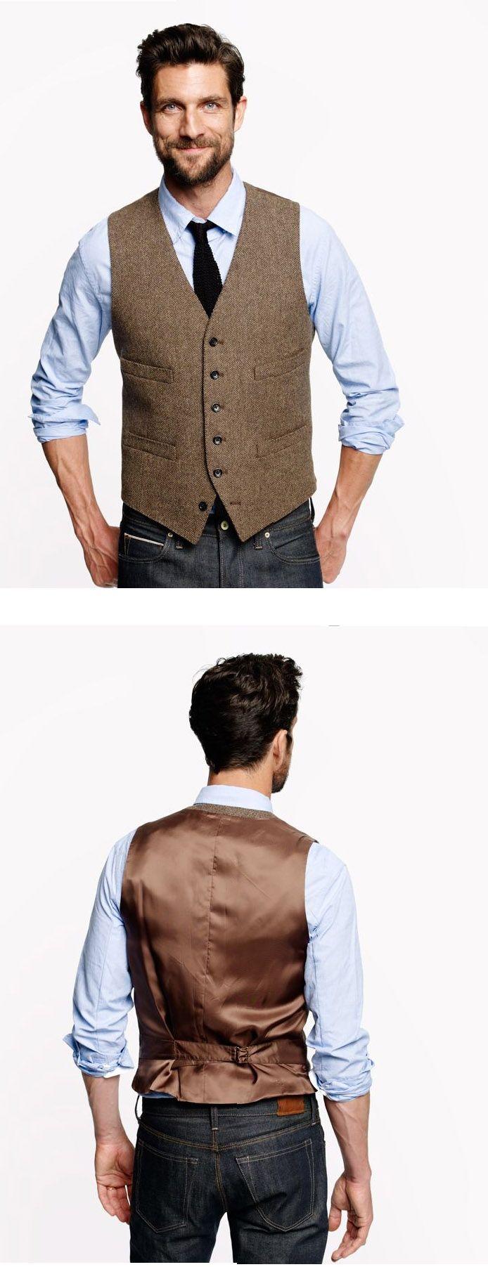Ludlow Vest in Harvest Herringbone  ENGLISH WOOL