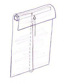 Esquema de como funciona o cordão para subir a cortina