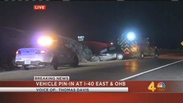 A woman was pinned inside her car after a wreck on Interstate 40 in Bellevue. The crash happened on the on-ramp from Old Hickory Boulevard just after 4:30 a.m. Thursday.