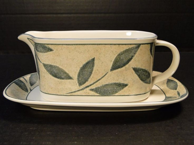 Mikasa Intaglio Natures Song Gravy Boat with Underplate CAA06 MINT! #Mikasa
