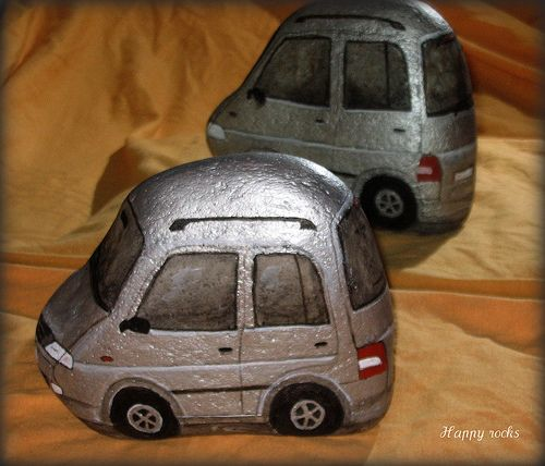 Metallic gray cars, rock painting