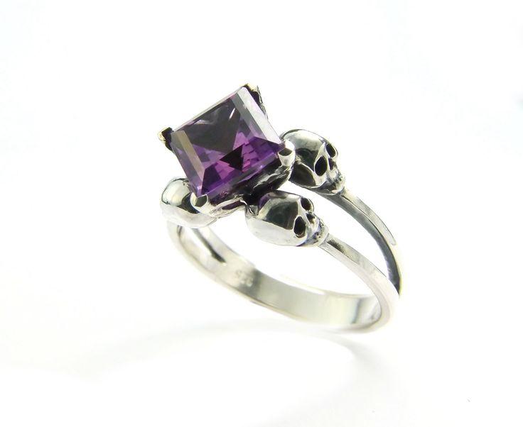 skull wedding ring square amethyst memento mori sterling jewel skull ring purple goth engagement ring rockabilly - Skull Wedding Rings
