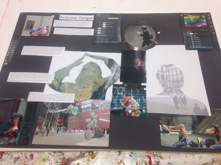 A presentation board for my third artist, photographer Antoine Geiger and the way he uses photoshop in his work has influenced me.