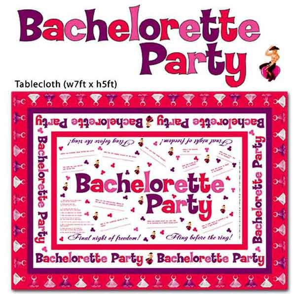 Looking for a new way to have fun at your next bachelorette party, well the Trivia Tablecloth Game not only is a functional cloth to cover your table, but also come with markers and has dares, games and questions for the Bride to Be... just a new twist on the way to play games at the party.  Bachelorette Party Supplies and Ideas
