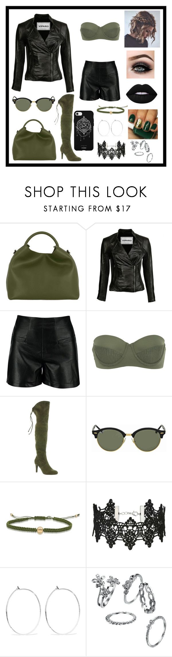 """Green 💚🖤"" by notsorandom19 ❤ liked on Polyvore featuring Elleme, Tori Praver Swimwear, Rialto, Ray-Ban, Miss Selfridge, Catbird, Fifth & Ninth, ASAP and 40"
