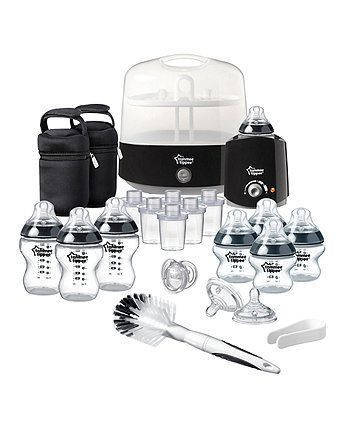 The Tommee Tippee Closer to Nature complete feeding kit includes all you need when bottle feeding your baby. In a sleek, space saving design, you can sterilise bottles in just five minutes (plus warming and cooling).