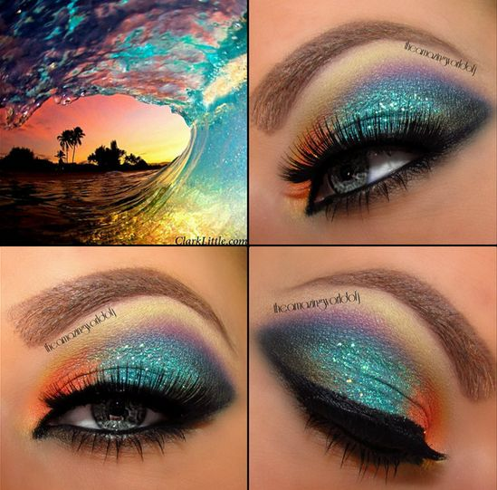 rainbow, wave, makeup, eyeshadow, blue, purple, orange, yellow, bronze, black, tropical
