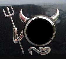 CHROME DEVIL DECAL HORNS TAIL DEMON CAR AUTO STICKER EMBLEM ROUNDEL BADGE