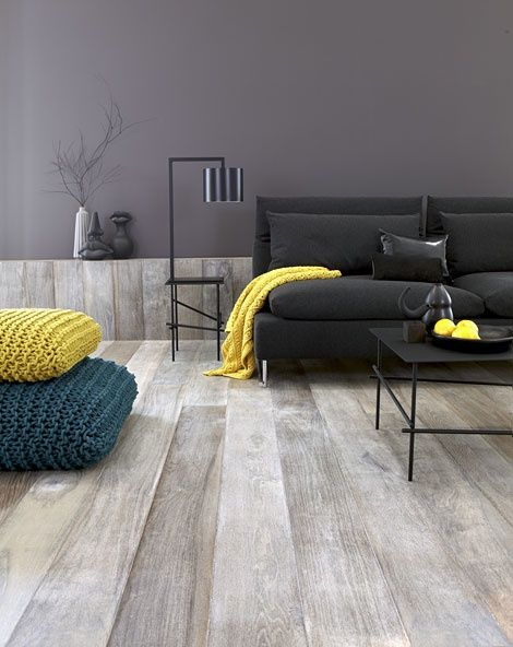 Awesome custom floors - looks great as a gray&yellow combo in this contemporary #LivingRoom