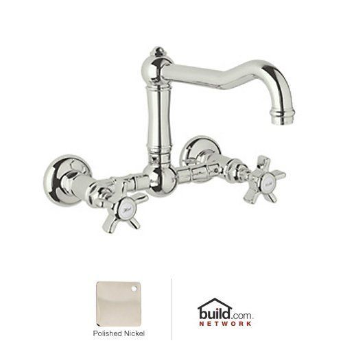 Rohl A1456x 2 Country Kitchen Wall Mounted Bridge Faucet With Five Spoke Handles Polished Nickel