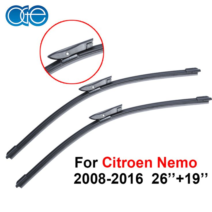 OGE Auto Car Windshield Wiper Blades For Citroen Nemo 2008-2016 Pair 26''+19'' Rubber Strip Car Accessories Buttons CPD107